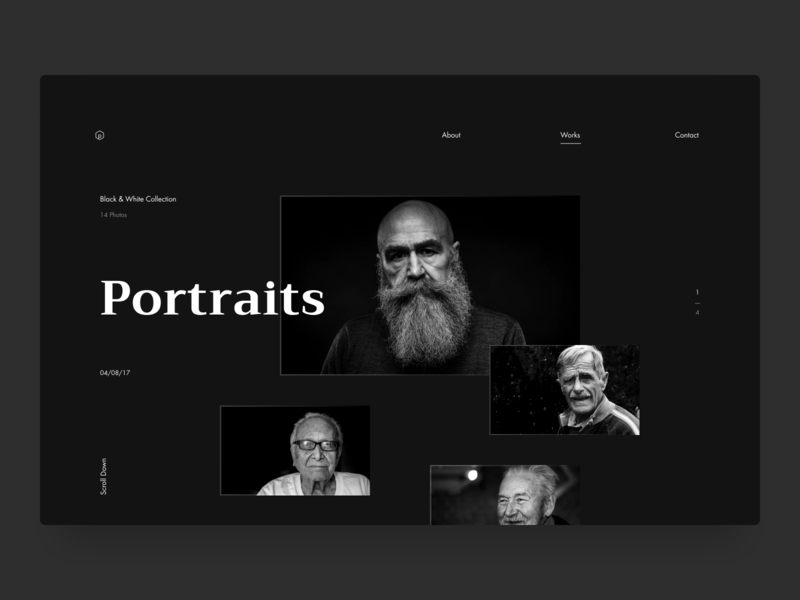 Photographer Web Design (Works Page) portfolio portrait photography typography dark theme design interface ux ui