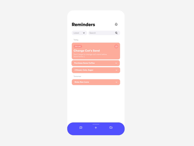 Swipe Up to Add a New Reminder! minimal liquid motion liquid animated icon motion mobile flat icon vector typography mobile app animation app design interface ux ui