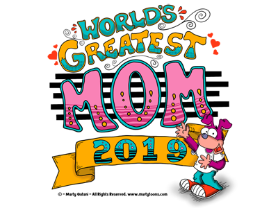 Worlds Greatest Mom hearts swirls hand lettering banner 2019 t-shirt design gift for mom cartoon character greatest mothersday mother mom