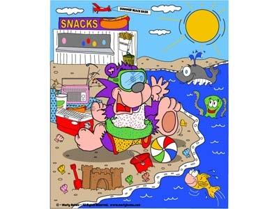 Summer Fun Cartoon Beach Design