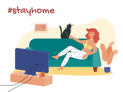 Stay at home chill virus stay home tv cat woman illustration vector