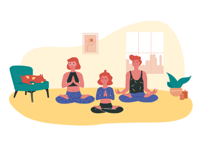 Keep Calm and Stay Home stayhome relax dog meditation yoga family man girl woman illustration vector