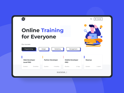 STUDY ONL - Online Training Website UI website website design first screen study online training site banner design ui illustration