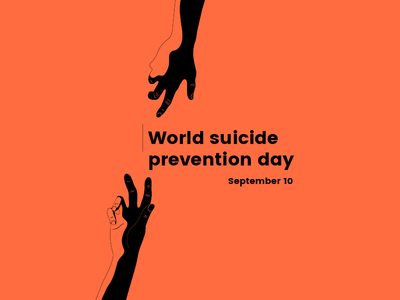 World Suicide Prevention Day tragedy problem death suicide awareness poster hand vector illustration