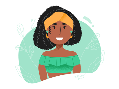 Lady in Green hair girl vector woman illustration