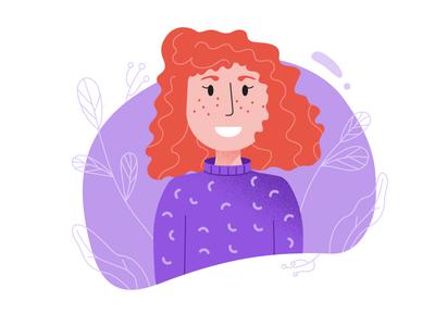 Lady in Violet freckles ginger girl woman vector illustration