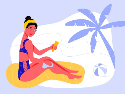The Last Days Of Summer vector summer vacation sea beach illustraion girl woman