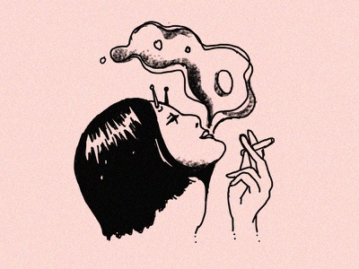 Self Portrait character line work smoking alien self portrait tattoo