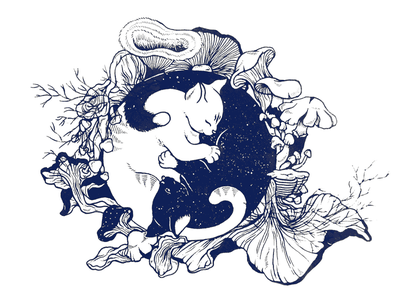 Ying Yang Kitties couple mushrooms ying yang cats illustration tattoo