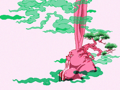Piquancy character illustration waterfall pixel pixel art cloud green trees smoke god mountain rabbit