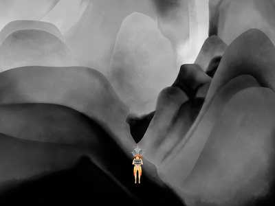Astro bw black and white mountain scale watercolor illustration game interactive discover jetpack