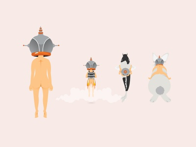 Astro game transportation explore jetpack rides carp gender girl boy character illustration