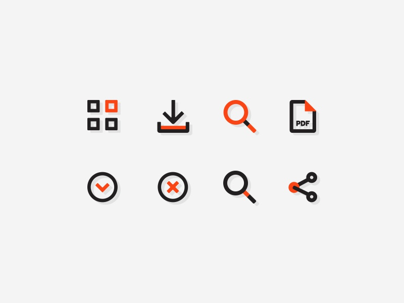 Orange Charcoal WIP share pdf search download categories commercial ui vector flat design icon web