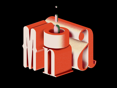 Mona typefaces font shader texture coral experiment cinema4d illustration 3d typography