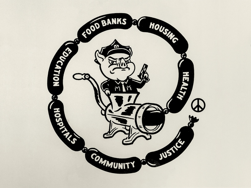 Defund the Police screenprint illustration drawing