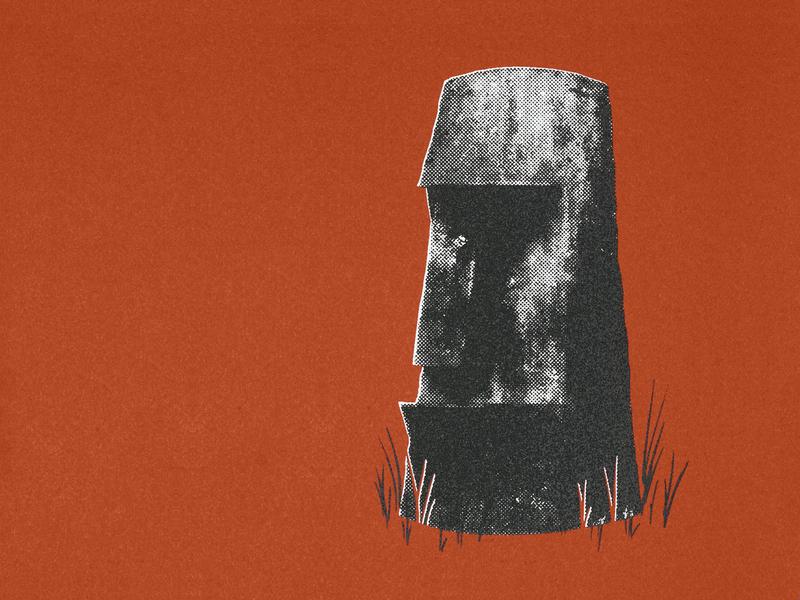 Easter Island Head vendingmachine novelty halftone screenprinting screenprint drawing illustration