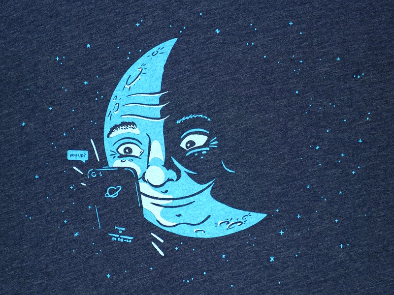 You Up? T-shirt design smartphone space t-shirt screen printing screenprint design drawing illustration