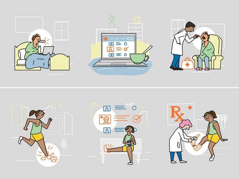 Providence Express Care detail infographic drawing illustration