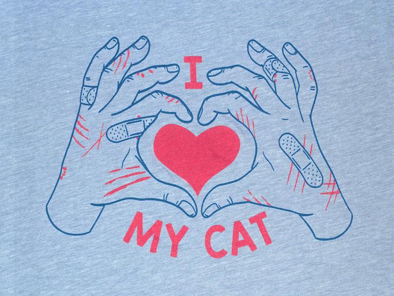 I ❤︎ My Cat T-shirt design cat cats t shirt screen printing screenprint drawing illustration