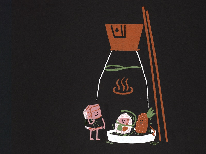 Soy Sauce Spa T-shirt design cute sushi design screen printing screenprint drawing illustration