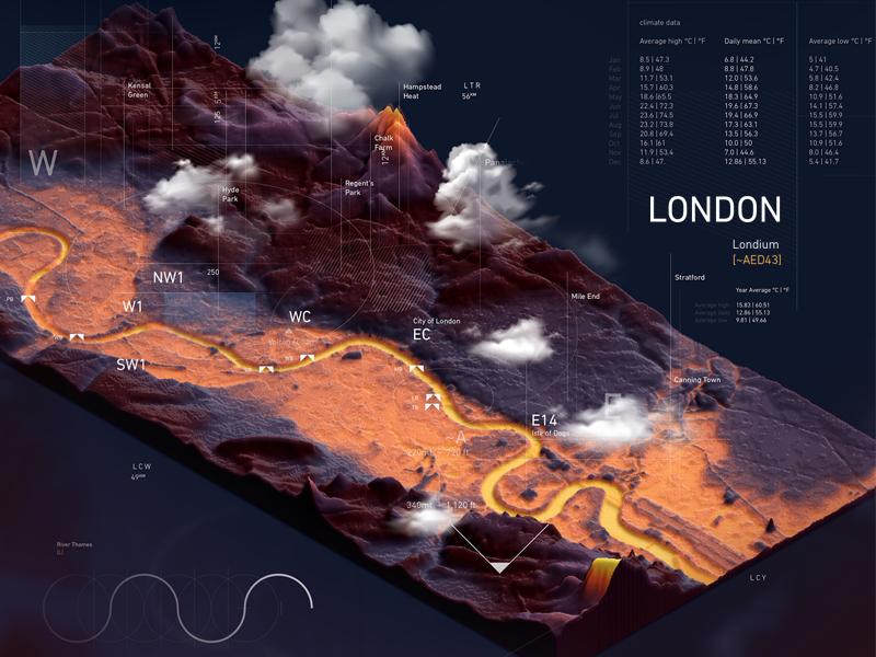 3d Terrain Map Of Uk.Atlas London Uk Isometric 3d Map By 5puj47980xk Dribbble