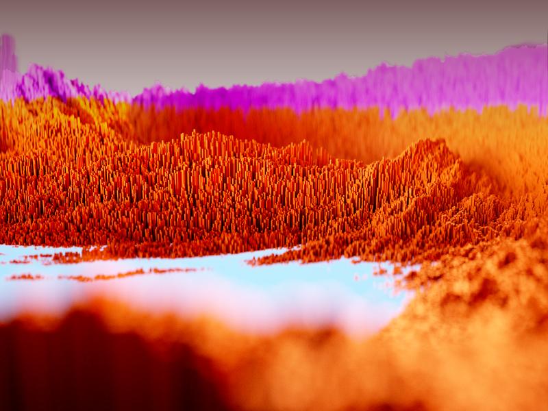Digital Landscape K18 | Autumn purple red autumn forest lake render digital design digital voxel landscape maxon scatter octanerender octane c4d art direction illustration 3d design graphic design