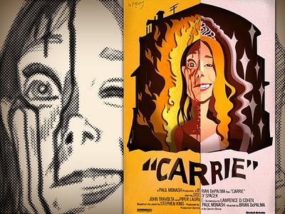 Movie Poster Carrie illustration 2d movie poster print design print papercraft papercut paper