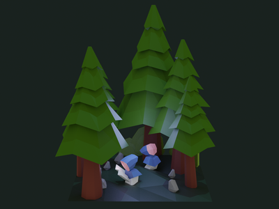 Oliver and Enzo Lost in Woods modeling low poly game art concept trees forest woods lowpoly blender 3d