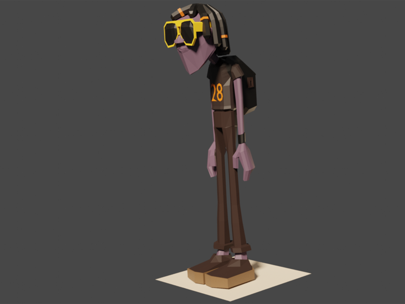 Cool Giants Fan character illustration blender 3d character design low poly low-poly