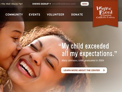 Nonprofit Masthead + Header nonprofit warm red ribbon alsina interstate form button photography nashville