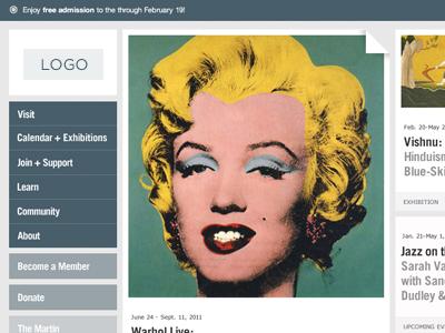 Museum Website Homepage blue grey fluid modular masonry art minimal clean