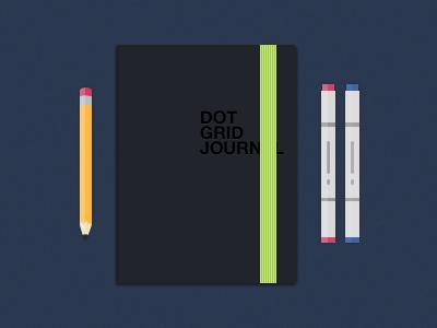 Artist Tools pencil pen copic dot grid journal notebook ribbon green blue art sketch illustration photoshop