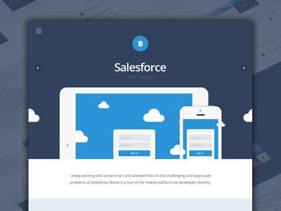 Salesforce Case Study salesforce masthead header navigation landing page case study clouds navy blue responsive typography illustration