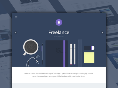 Freelance Case Study navy purple coffee illustration stuff landing page clean tools art pen pencil