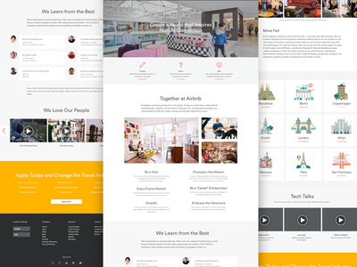 Jobs at Airbnb landing page icons illustration photography editorial grid typography clean