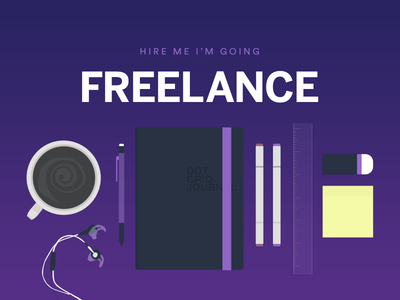 I'm going freelance! tools typography gradient coffee illustration freelance