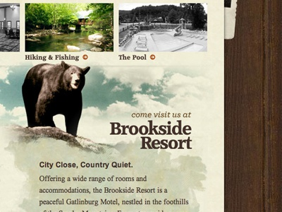 Brookside Resort paper texture wood bear grunge watercolor sky typography warm photos