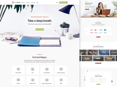 TrackMaven Website form carousel typography website marketing b2b icons minimal desk plants trackmaven