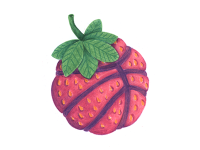Hello Dribbble! hand drawn colored pencil illustration basketball prisma strawberry