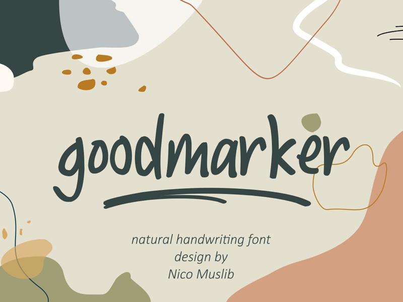 Goodmarker    Natural Handwriting Font professional font branding font modern handwritting font natural looking font display font fancy handwrtting font fancy script font cool font