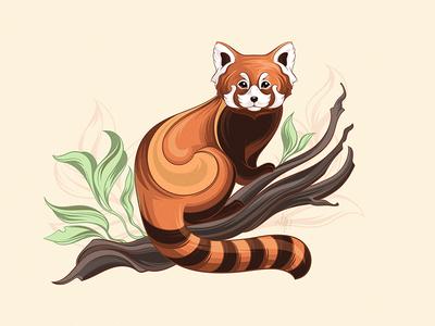 Red panda tshirtdesign vector illustration character animal redpanda