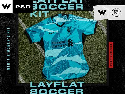 Men & Women Soccer Layflat Mockups logo branding concept mockup soccer design team football uniform sports