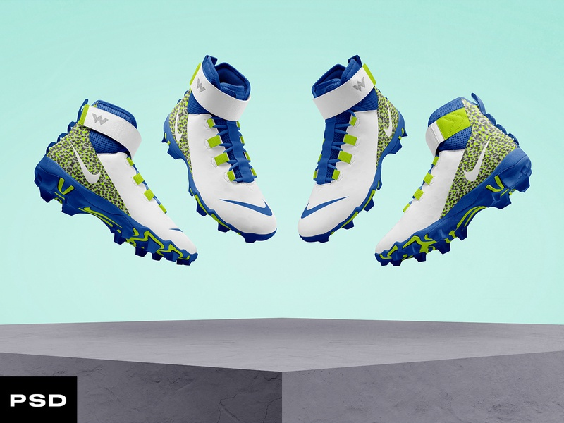 2.0 Football Cleat Mockup sports edit template psd mockup design team nfl mockup concept branding football sports