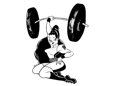 Pinup I Weightlifter I Dark inktober illustration characterdesign
