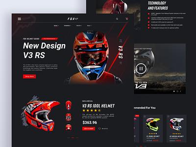 FOX Helmet - Landing Page moto figma darkmode ux fox sport helmet animation uiux ui web design landingpage
