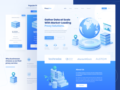 ProxyOne - The Best Proxy Network network proxy dimetric isometric blue web design homepage figma ui  ux web landing page illustration