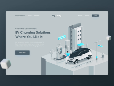 NgCharg. - EV Charging Solutions Header ui  ux electric car animation web design figma header hero illustration design landing page web illustration isometric fake3d charging station