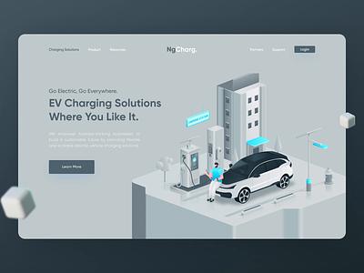 NgCharg. - EV Charging Solutions Header ui  ux electric car animation web design figma header hero illustration design landing page web illustration isometric fake3d charging station