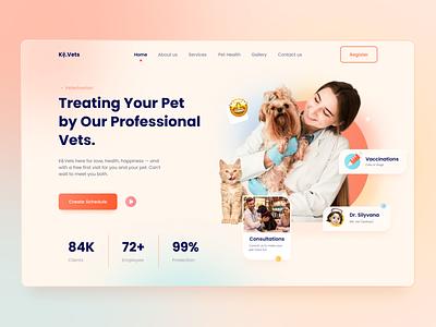Kệ.Vets - Veterinary Medical Care Header Website homepage ux ui ui design vets pet medical animalcare animal veterinary veterinarian health care medicine design web figma
