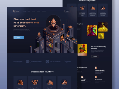 Ènéfty - NFTs Ecosystem With Ethereum Website art cryptoart header eth graphic design animation 3d fake 3d isometric illustration motion graphics landing page ui website nft nft marketplace bitcoin ethereum cryptocurrency nfts